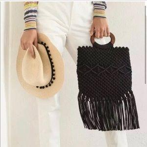 DANIELLE NICOLE Black Knitted Fringe Purse